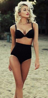 high waist swimsuit padded vintage bikini - shapinganewu pjghrem