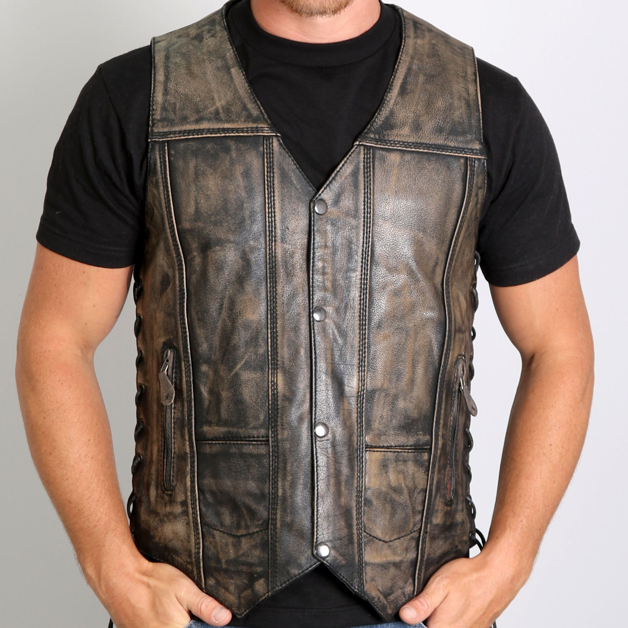 hot leathers menu0027s distressed brown leather vest w/ 2 concealed carry  pockets wlncvyl