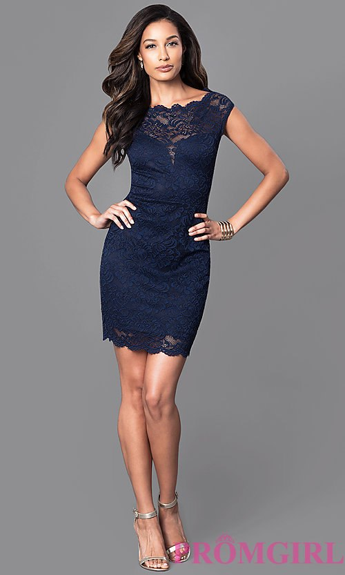 image of semi-formal lace navy blue dress with cap sleeves. style: sy djsdlzv