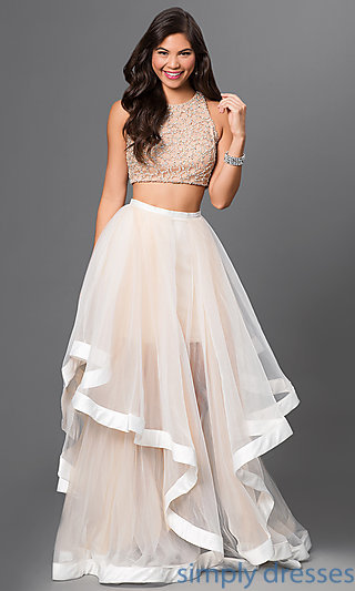 ivory dresses glamour by terani two piece long dress . pbvlyfc