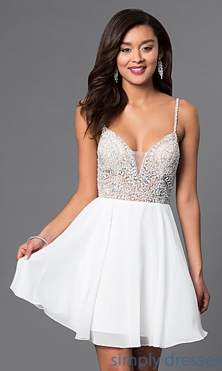 ivory dresses short jewel-embellished sweetheart party dress . pjzrcbh