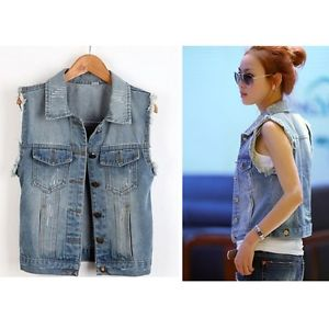 jean vest image is loading fashion-lady-casual-sleeveless-denim-vest-button-down- rthskzo
