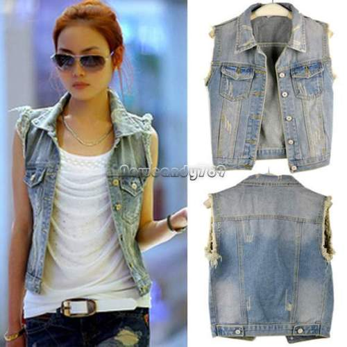 jean vest women sleeveless denim vest coat cardigan punk washed jean tops jacket  waistcoat fybthhe