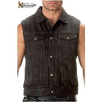 jean vest xelement b285 mens black denim motorcycle vest - x-large rpcbnsh