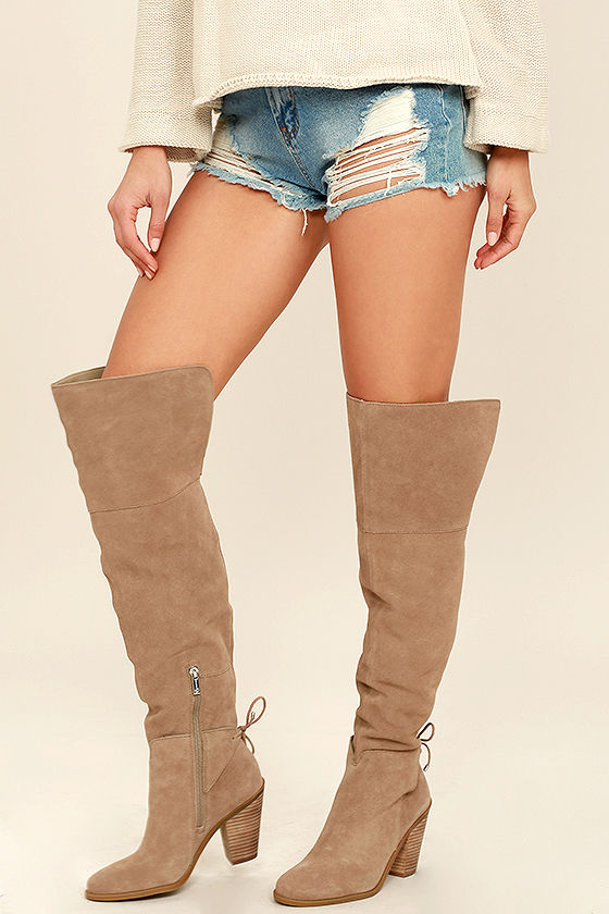 jessica simpson boots jessica simpson cassina taupe suede leather over the knee boots 1 dwmpkbv