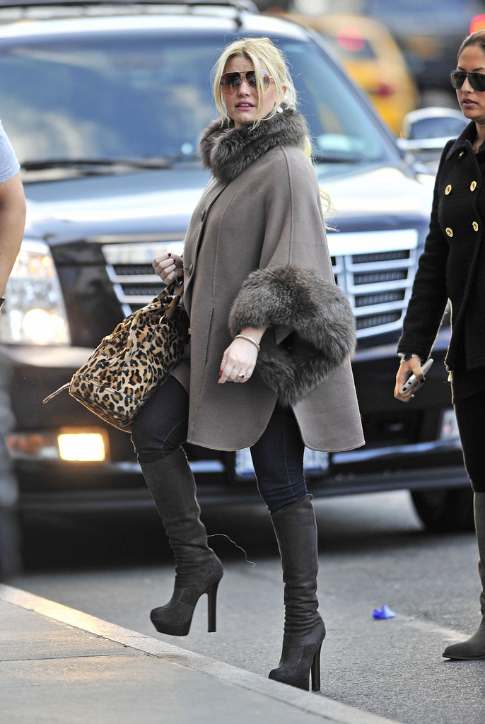 jessica simpson boots jessica simpson donned suede fendi knee-high boots in nyc. she matched the yttggwe