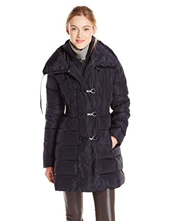 jessica simpson coats jessica simpson womenu0027s mid length down coat with clasp closures, navy,  x-small xwmajkj