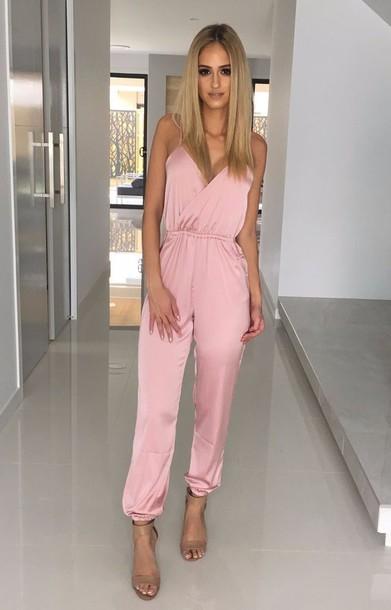 jumpsuit silky jumpsuit silk jumpsuit silky pink jumpsuit wrap jumpsuit  silky pink zfeebdu