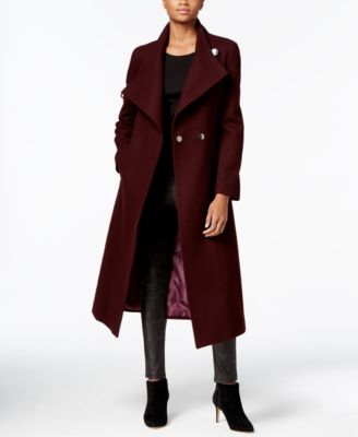 kenneth cole asymmetrical belted maxi wool coat pffnvvx