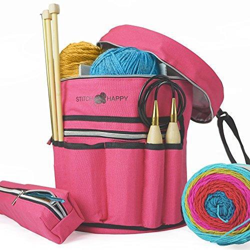 knitting bags knitting bag - yarn tote organizer w/tool case, 7 pockets + divider for mbpyxjv