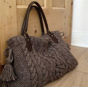 knitting bags papertoclothstore. aran hand knitted handbag with real leather handles ahvdscz