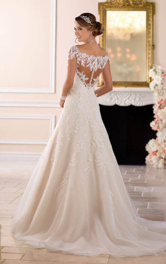 lace wedding dresses 6414 off the shoulder lace wedding dress with sleeves by stella york rbamisf