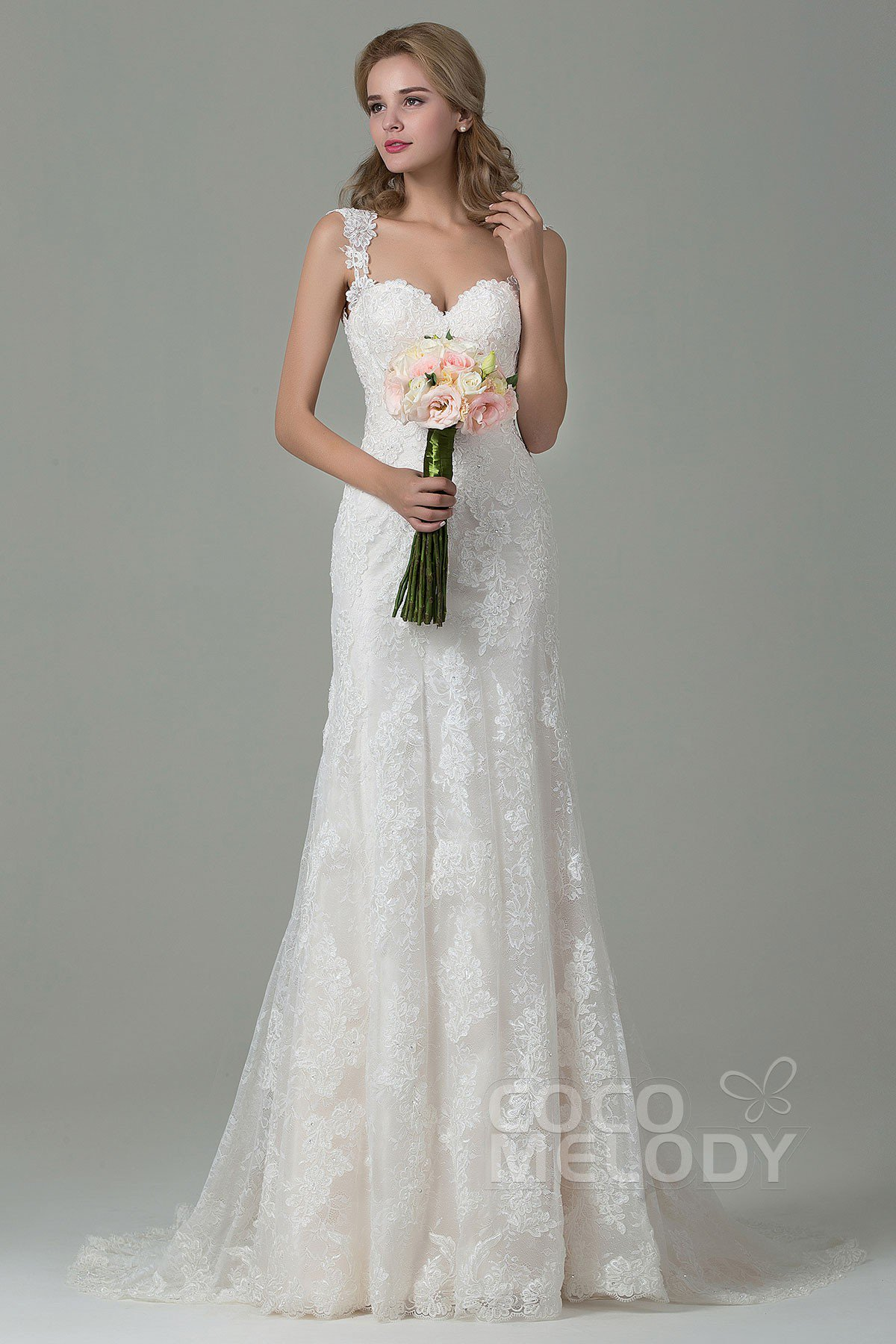 lace wedding dresses fabulous sheath-column straps natural train lace ivory/champagne sleeveless  backless wedding dress with hudjbdy