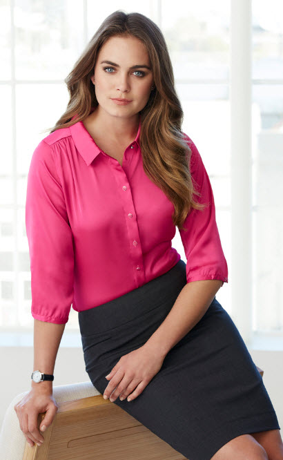 ladies hostess three quarter sleeve satin blouse bbvtxco