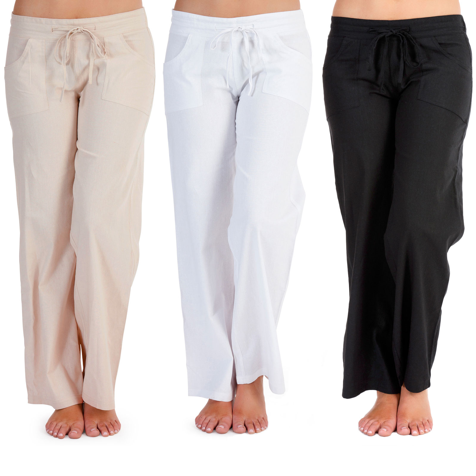 ladies soft linen trousers pull on casual summer stone white black sizes bfuczvk