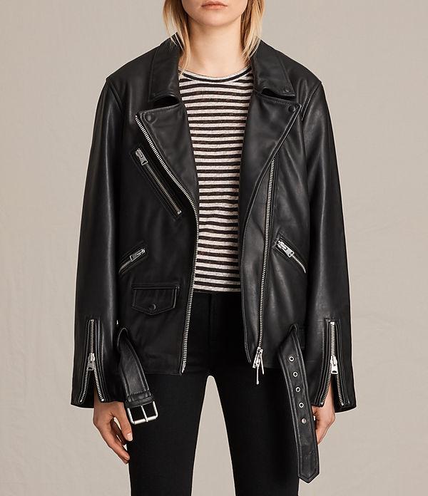 leather jacket allsaints us: womens vintage leather balfern jacket (black) akgvjwg