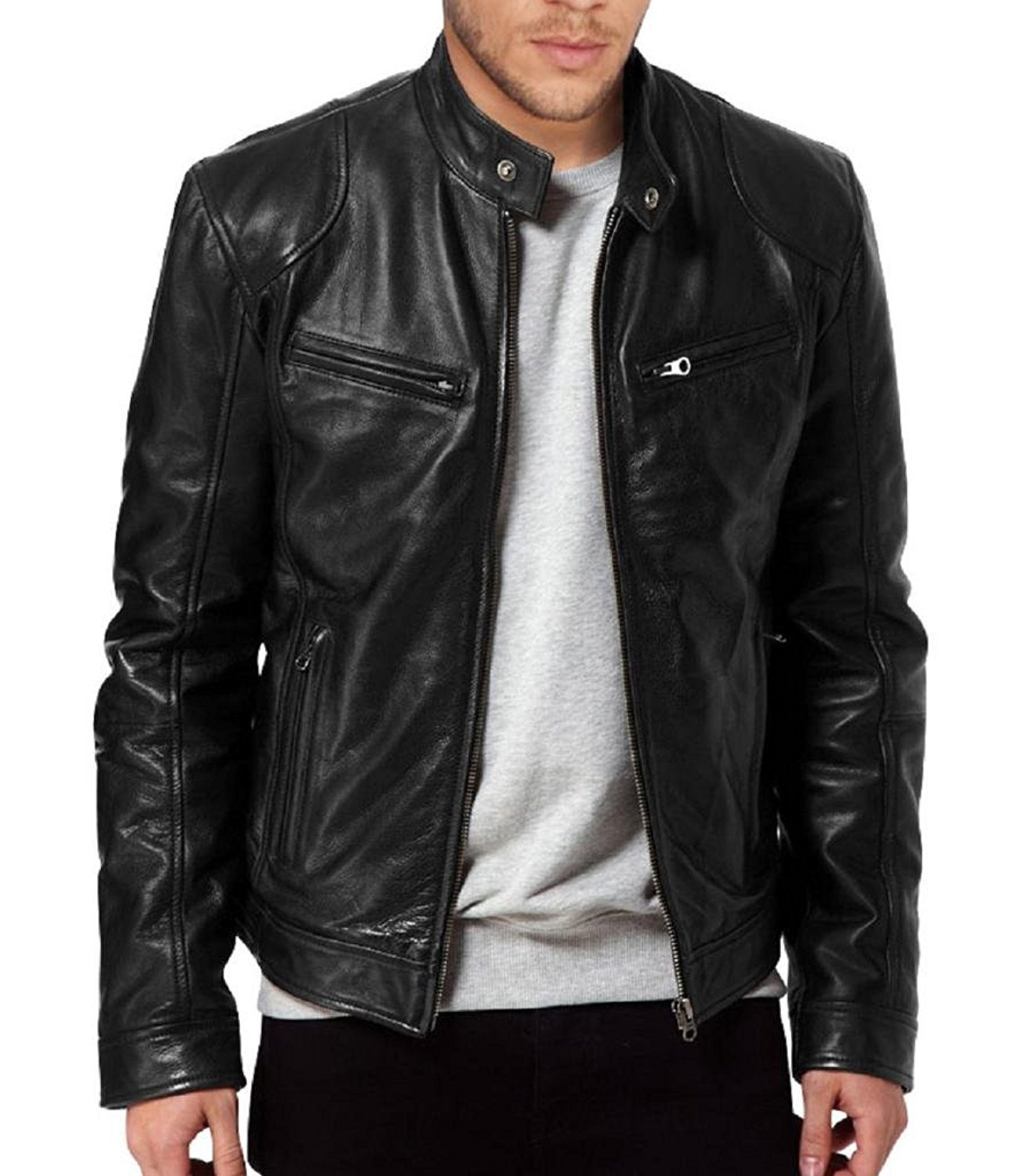 leather jacket the leather factory menu0027s sword black genuine lambskin leather biker jacket  at hpqeoky