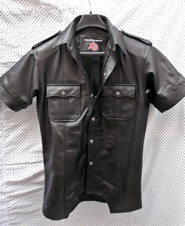 leather shirt ls205-short-sleeve-leather-shirt-custom-made-www. igofsmh