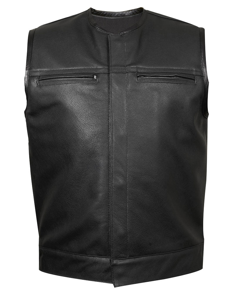 leather vest leather club vest #3 (zipper chest