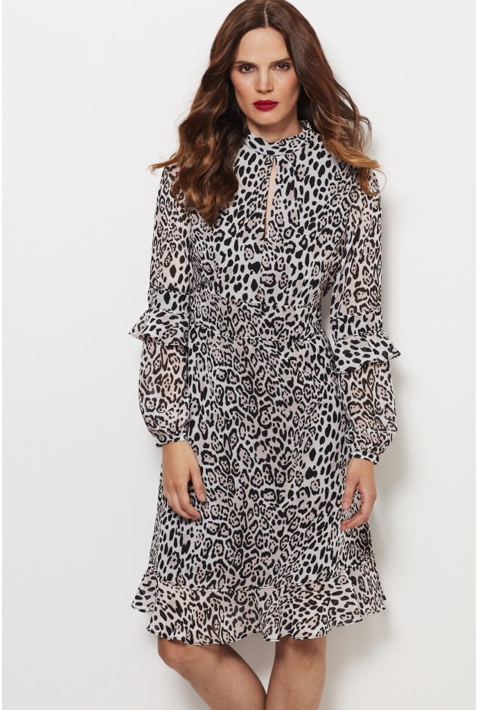 leopard print dress leopard print fit u0026 flare ruffle dress jvzvdeo