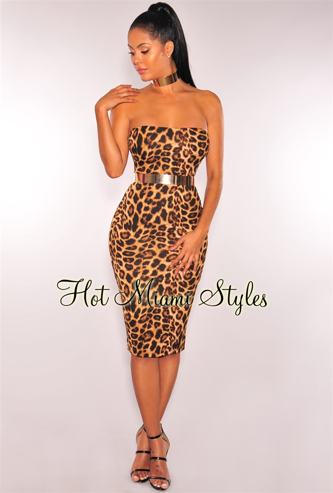 leopard print dress leopard print strapless midi dress wxuyddv