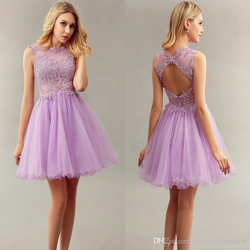 light purple short bridesmaid dresses jewel with lace applique homecoming  dresses sheer hrgwgga