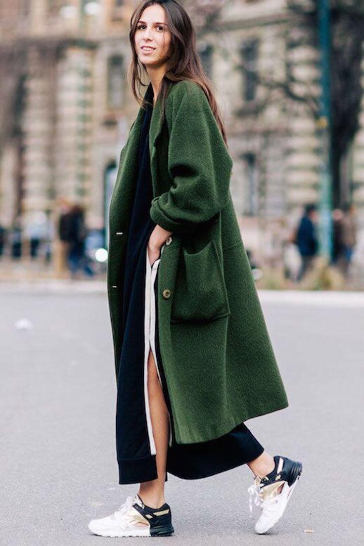 long coats green long winter coat | street style | sneaker outfit inspirations u003c3 lljuakj