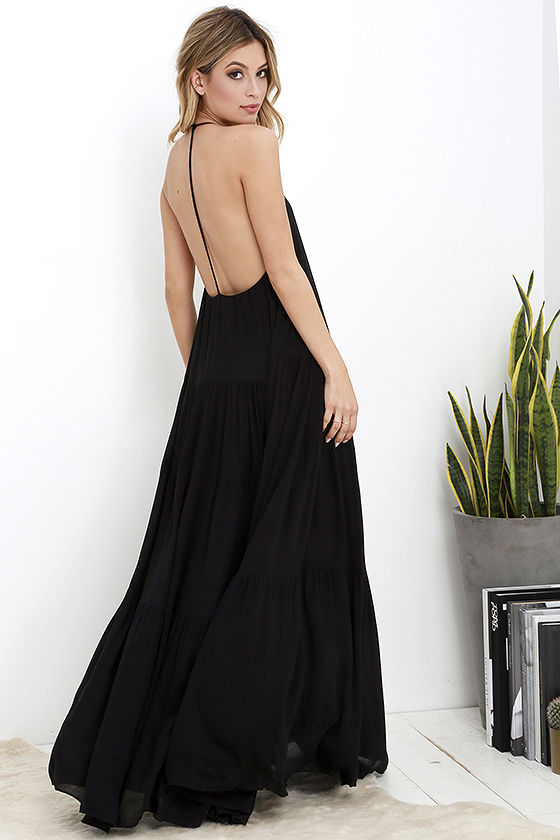 lovely black dress - maxi dress - backless maxi dress - $74.00 kqkpdzb