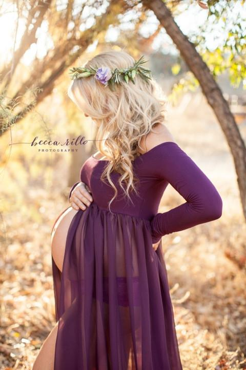 maternity gowns roxy gown - long sleeve maternity gown - split front gown - chiffon gfvrbdp