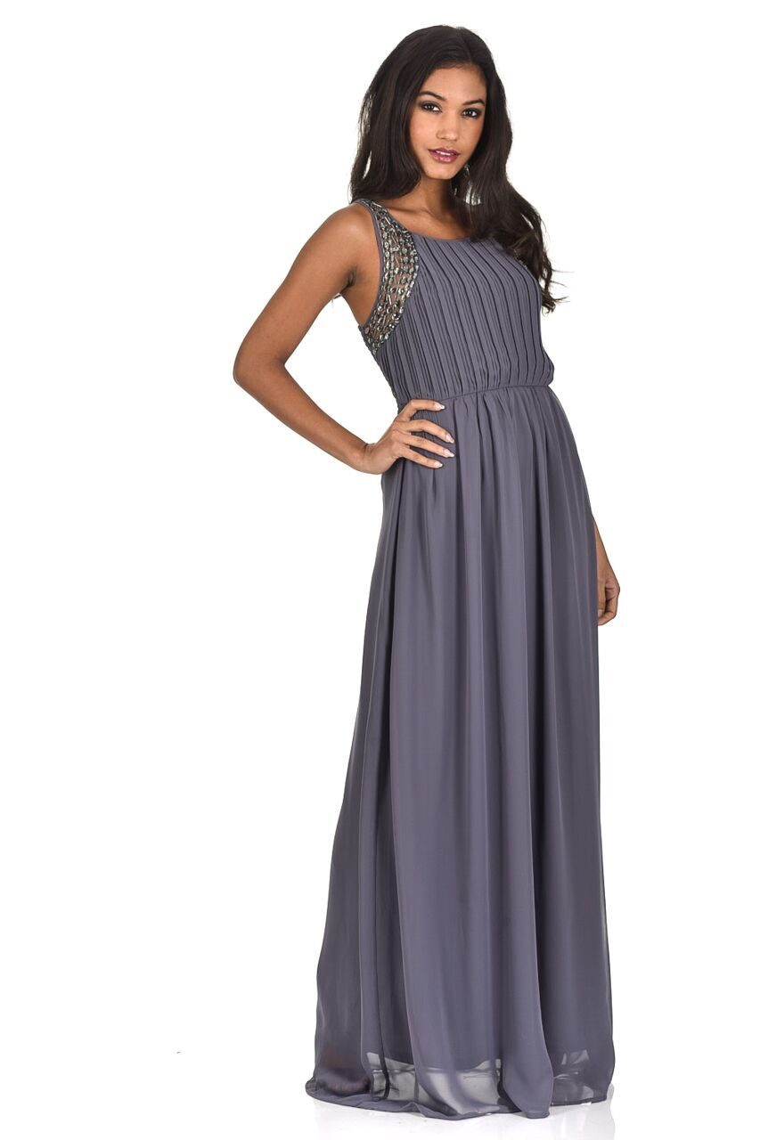 maxi dresses for weddings pewter jewelled detail maxi dress ... xlpptbr