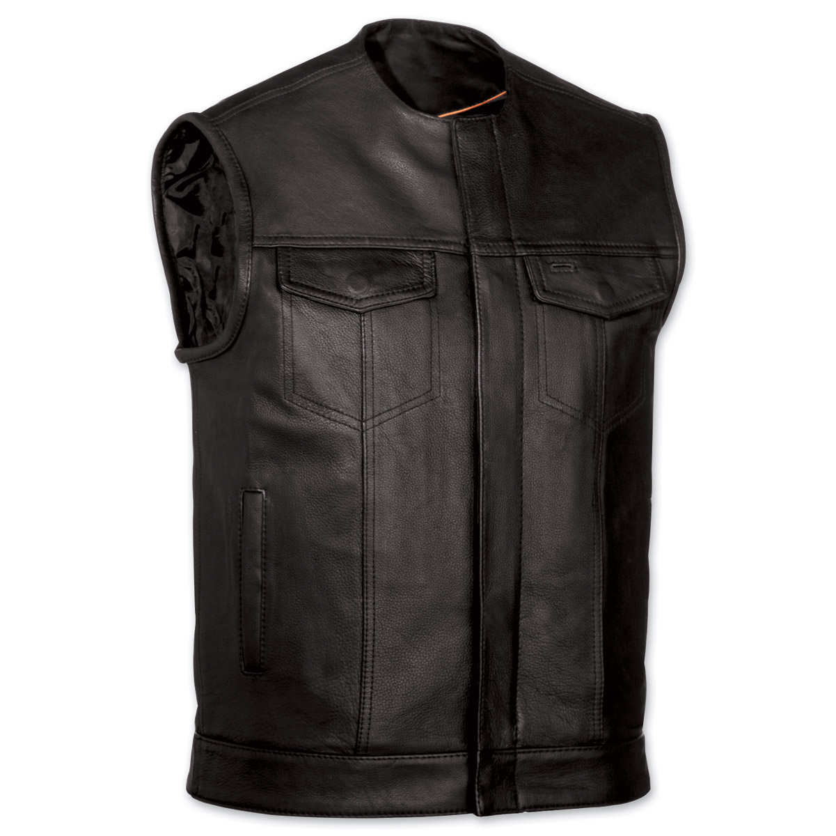 menu0027s collarless mc black leather vest ... vsixtoj