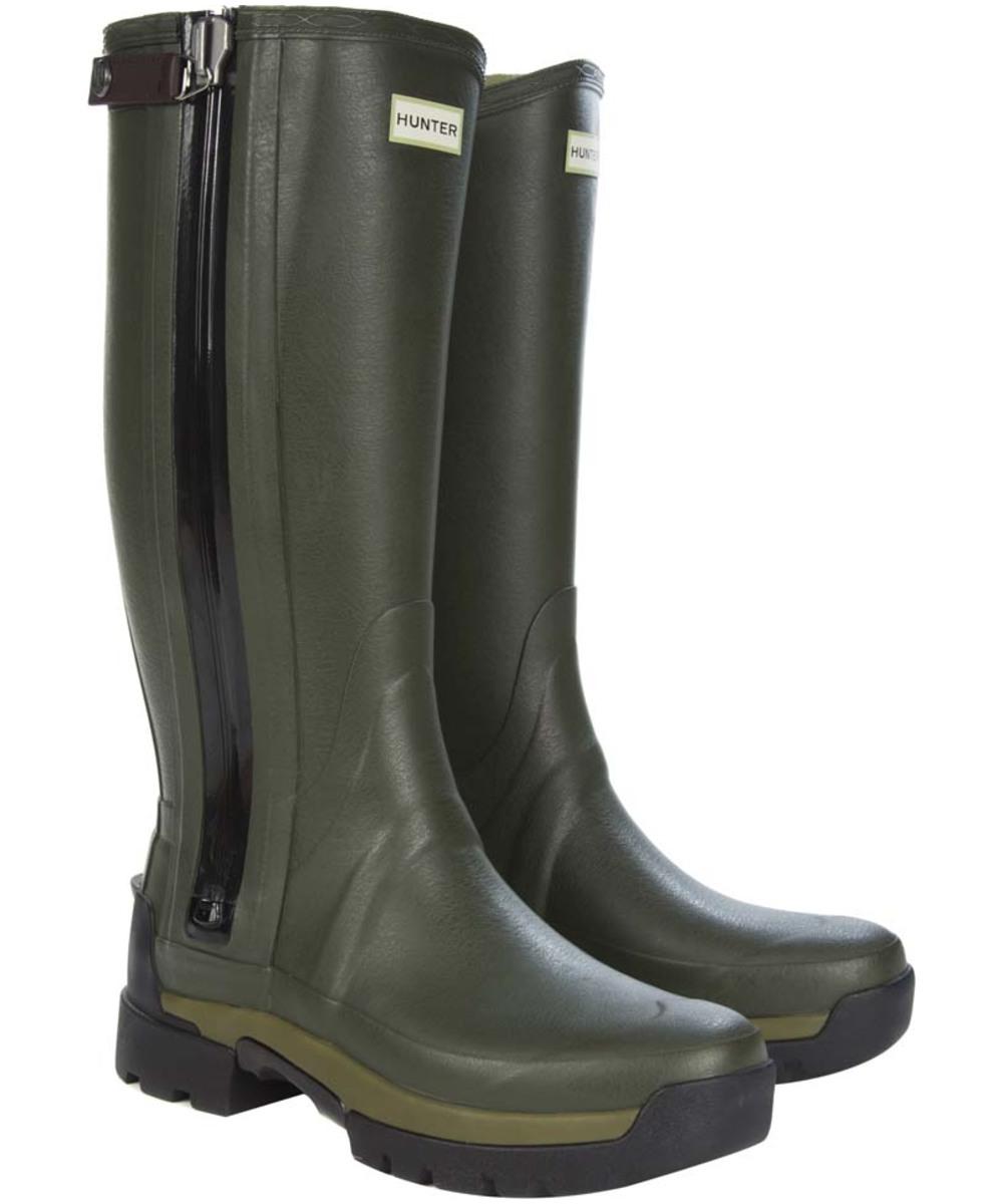 menu0027s hunter field balmoral technical zip wellington boots - dark olive uobcdpv