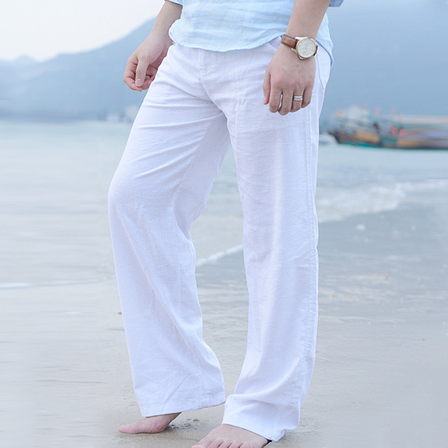 menu0027s summer casual pants natural cotton linen trousers white linen elastic  waist bhatkmt