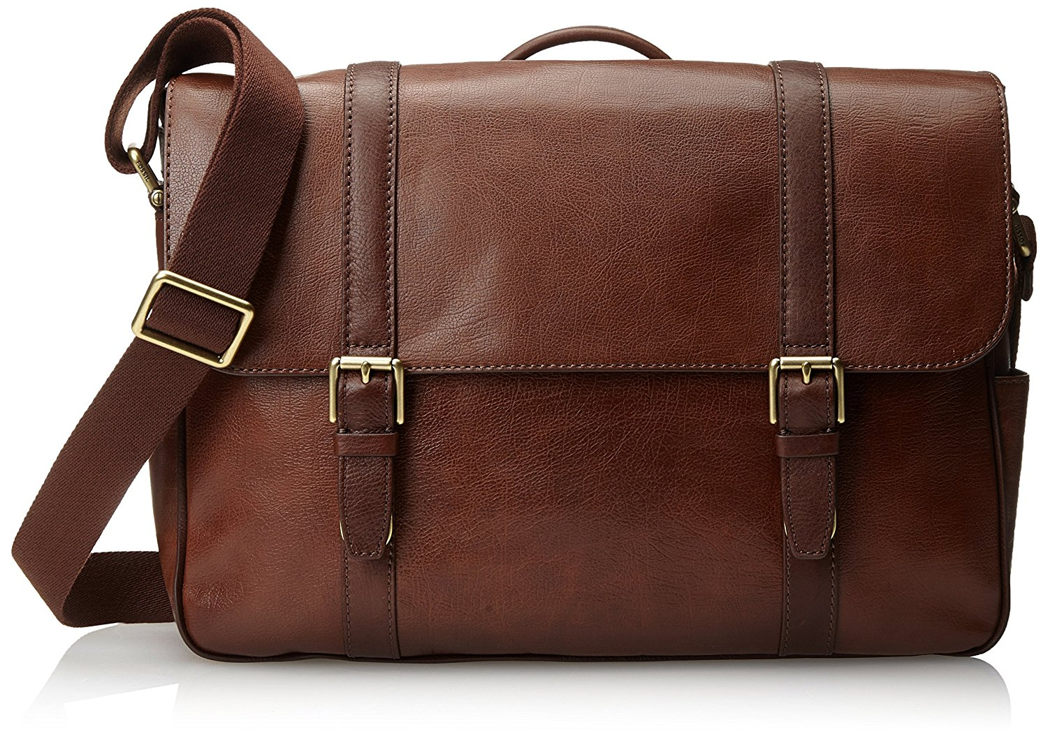 mens bag amazon.com: fossil menu0027s estate saffiano leather east-west messenger bag,  cognac: shoes tdbnist