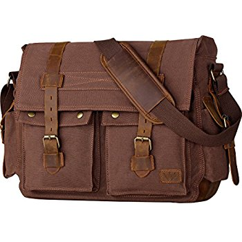 mens bag wowbox 17 inch menu0027s messenger bag vintage canvas leather satchel bag  military ctblvio