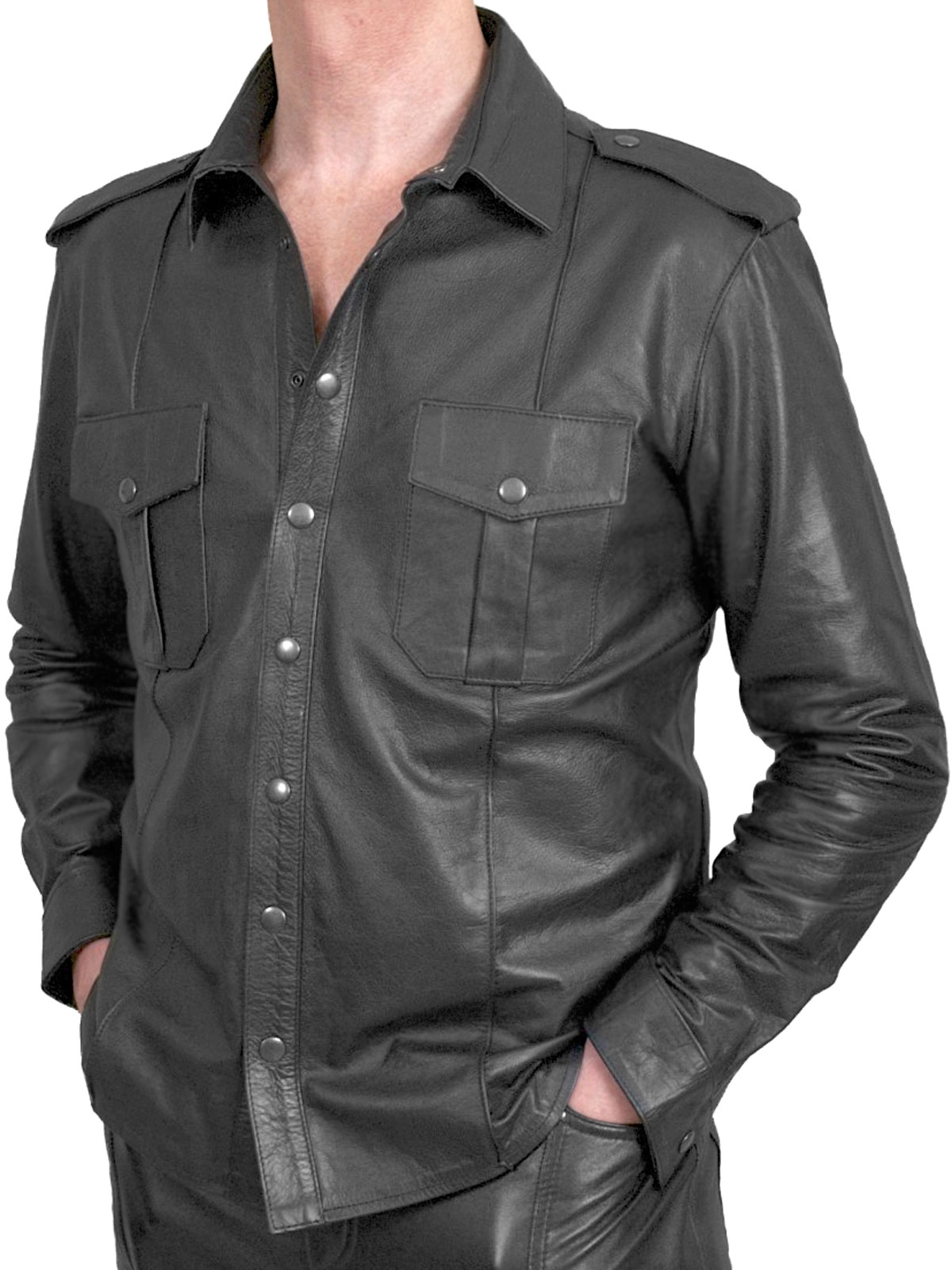 mens black leather shirt jvdentc