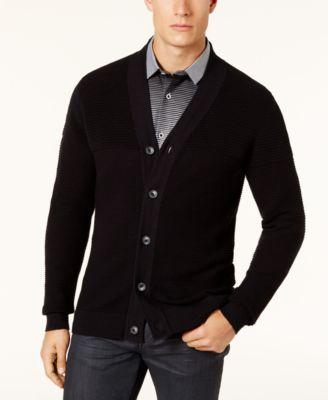 mens cardigan sweaters alfani menu0027s ribbed cardigan sweater whkvcaw