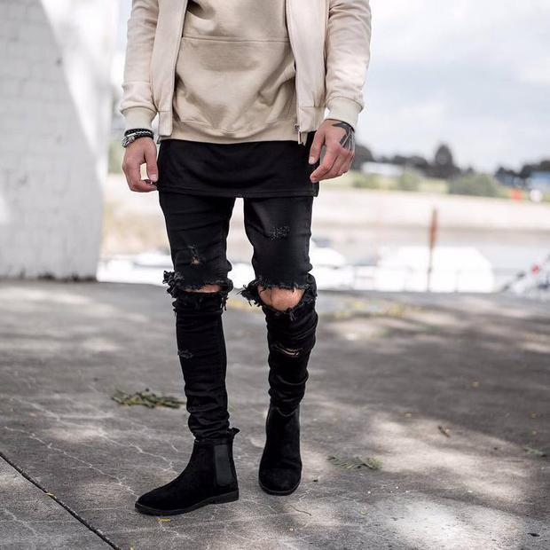 mens ripped jeans 2018 skinny jeans men ripped jeans wholesale represent clothing designer  pants blue/black efwdbwd