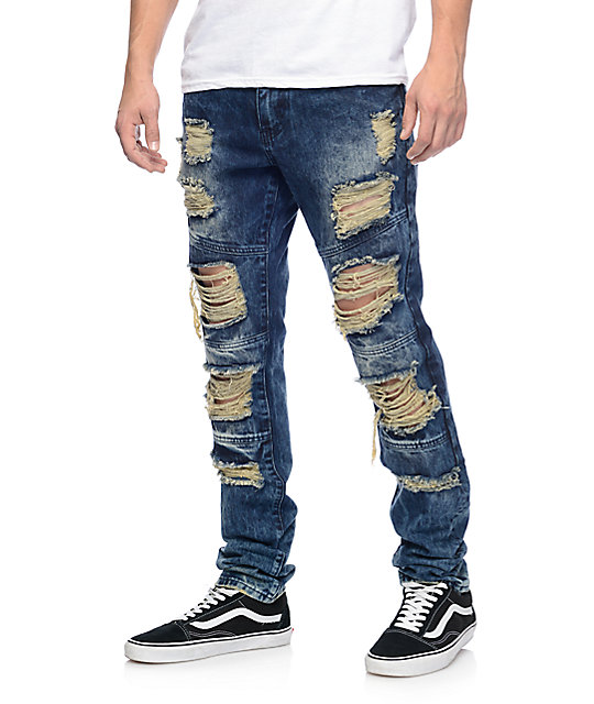 mens ripped jeans crysp denim wayne indigo ripped jeans ... icdhtbe