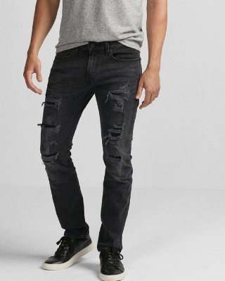mens ripped jeans express view · slim black destroyed stretch jeans uscfczx