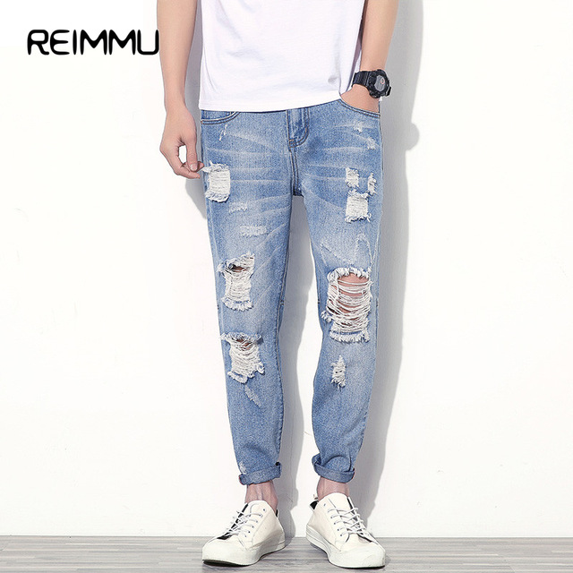 mens ripped jeans famous brand ankle-length ripped jeans men high quality hole mens jeans  pants ftvcytr
