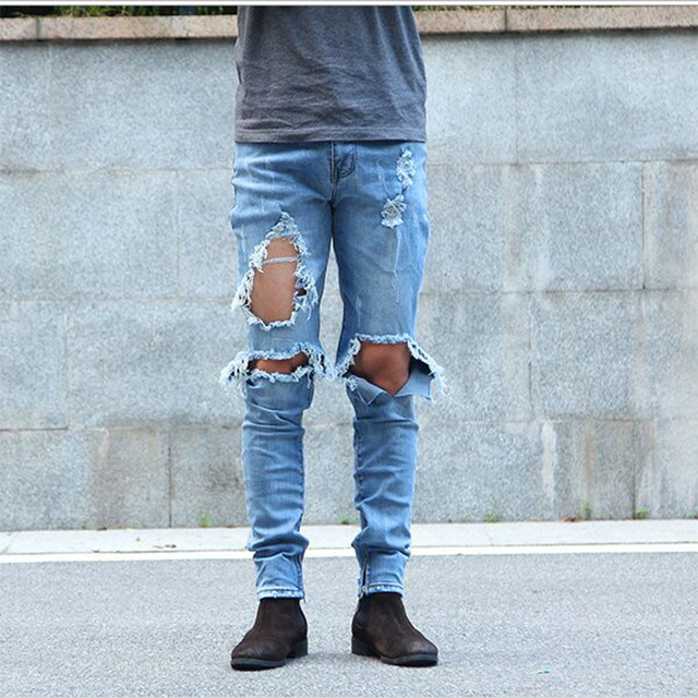 mens ripped jeans men kanye west ripped jeans skinny destroyed biker denim pants mens ankle remqllr
