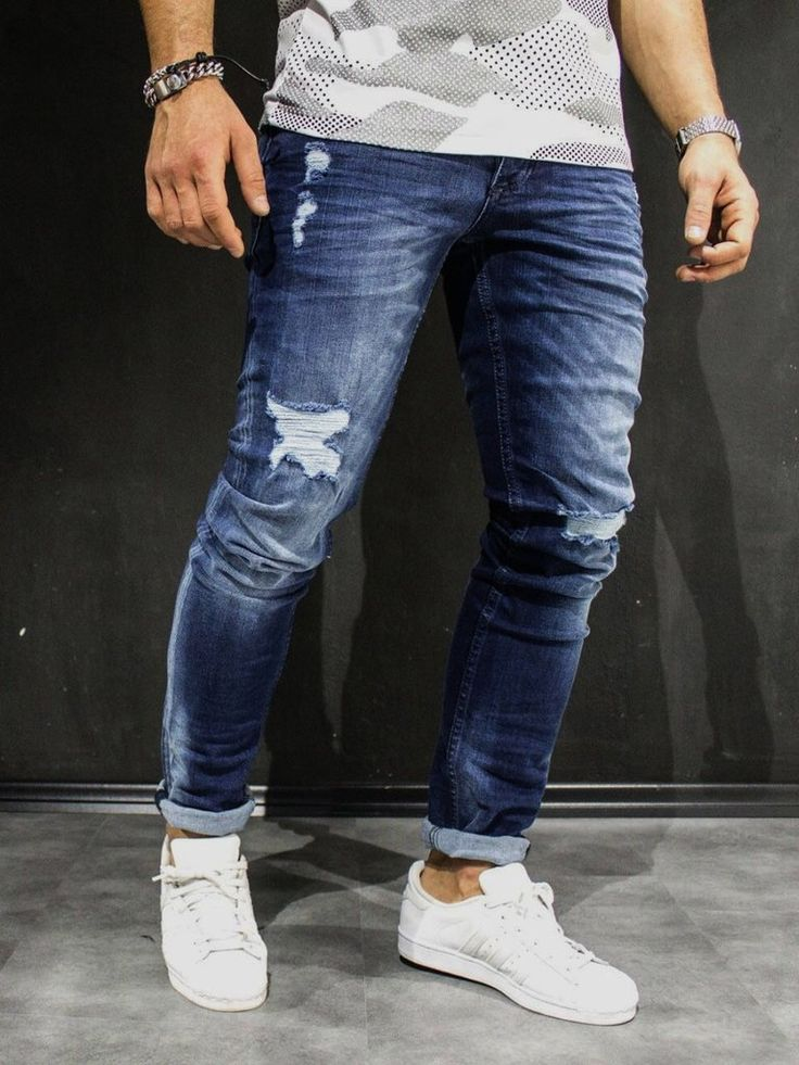 mens ripped jeans men slim fit simply ripped jeans - blue omfcrrm