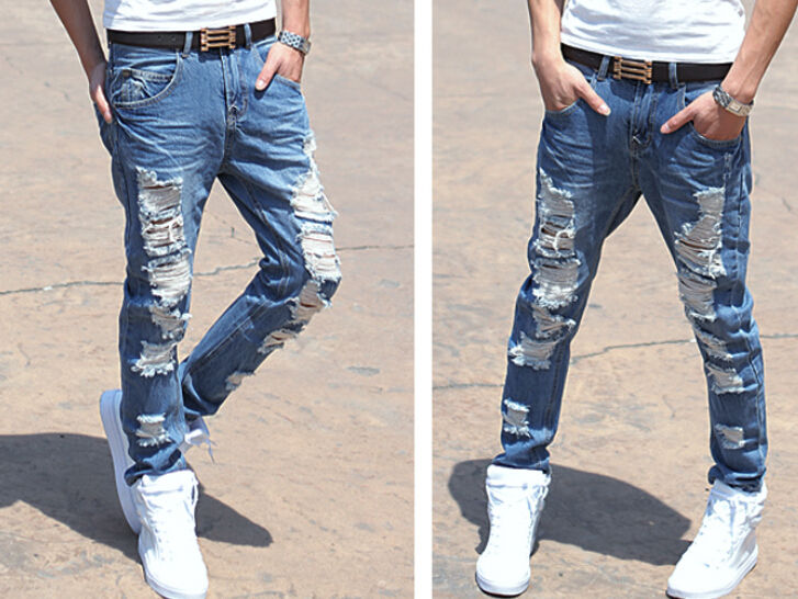 mens ripped jeans new mens ripped shredded jeans in white - stretch slim tapered fit leisure grlfumz