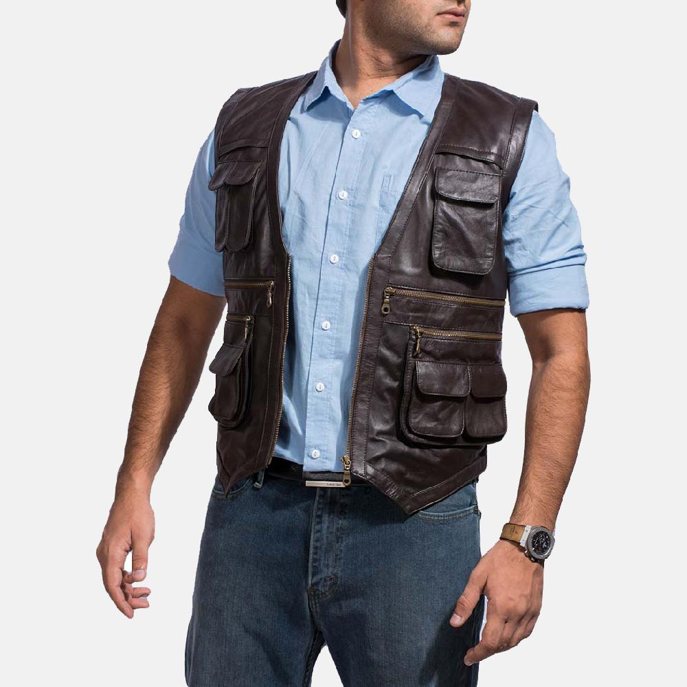 mens safari brown leather vest 3 lkcpafa