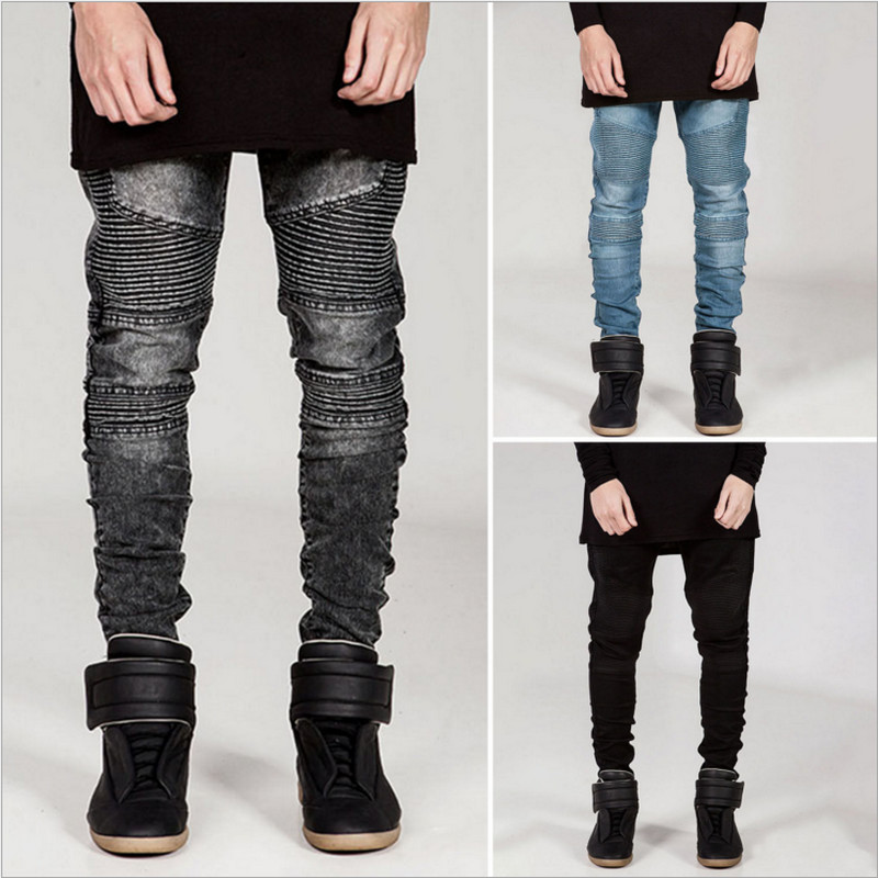 mens skinny jeans men 2016 runway distressed elastic jeans denim washed  black edfajlb