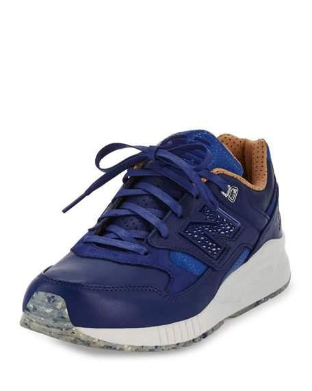 mens sneakers menu0027s ml530 leather trainer sneaker, blue/brown gzgrjbn