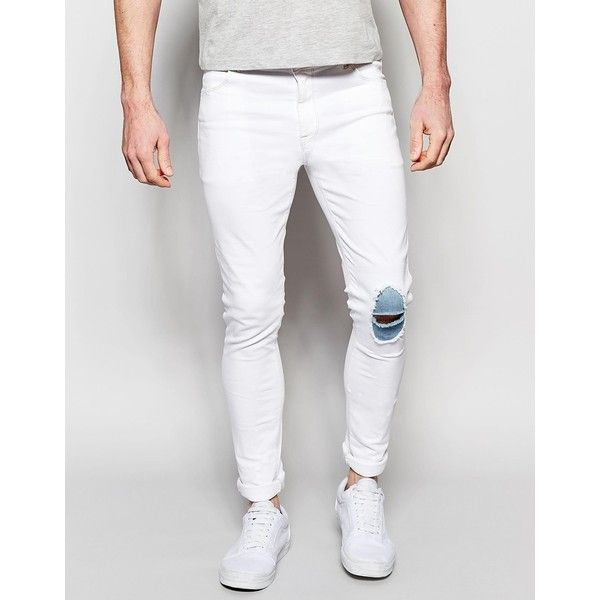 mens white jeans asos super skinny jeans with