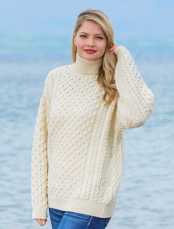 merino wool turtleneck sweater - natural white niihrxd