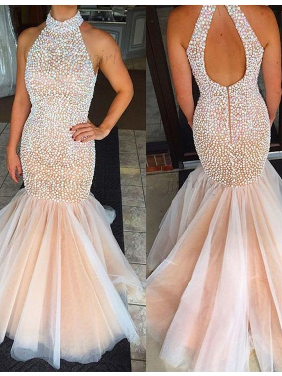 mermaid prom dresses luxurious high neck open back